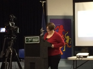 FCWC Program Director, Alicia Molloy, reading FCWC's position statement against the Spectra Energy project.