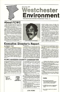 This is the cover of the first edition of the printed and circulated Westchester Environment. The picture features John R Thornborough, FCWC President 1979.