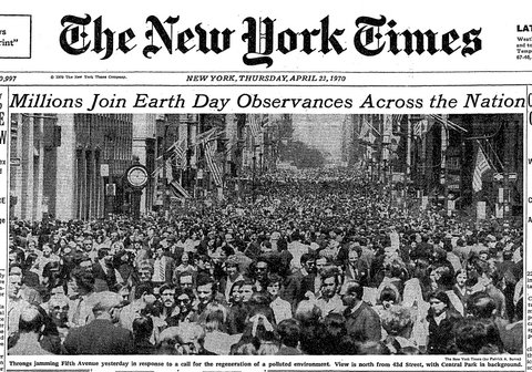 Coverage of the first Earth Day, April 22, 1970, in The New York Times.